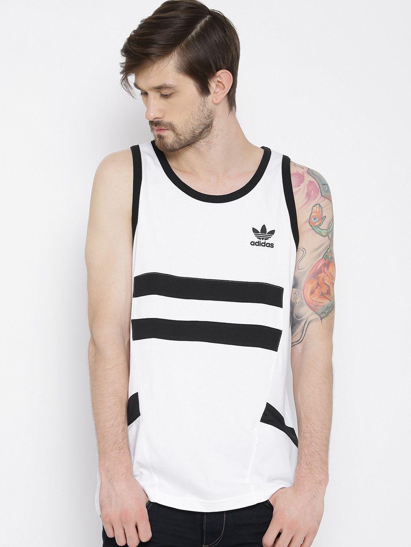 Buy Adidas Originals White & Black Sleeveless T Shirt - Tshirts for Men |  Myntra