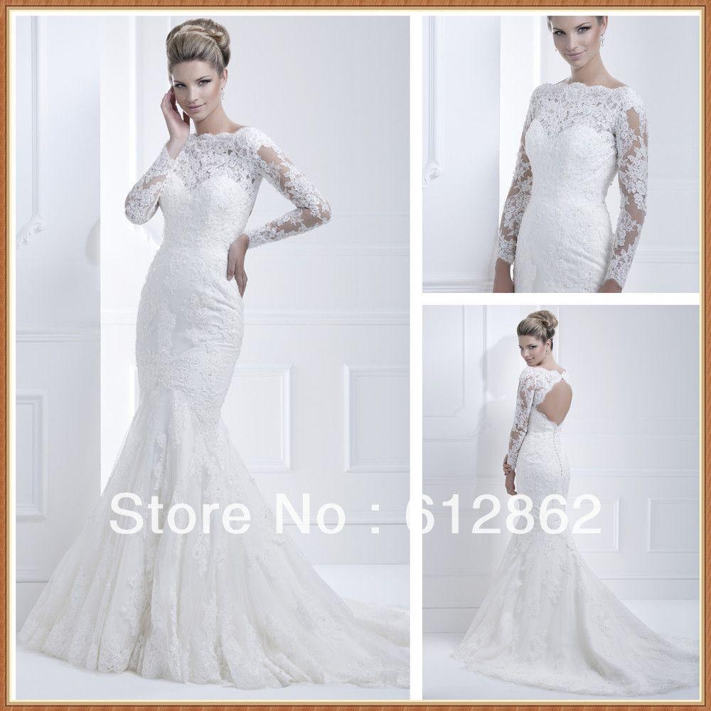 Elegant long train cut back beaded mermaid long sleeve lace wedding