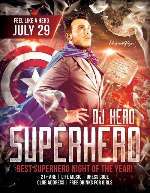Free Superhero Night PSD Flyer Template - http\/\/freepsdflyer - movie night flyer template