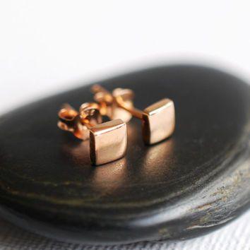 328 Geometric Square Stud Earrings in 24K Rose Gold Vermeil - dainty minimalist jewelry by lustre