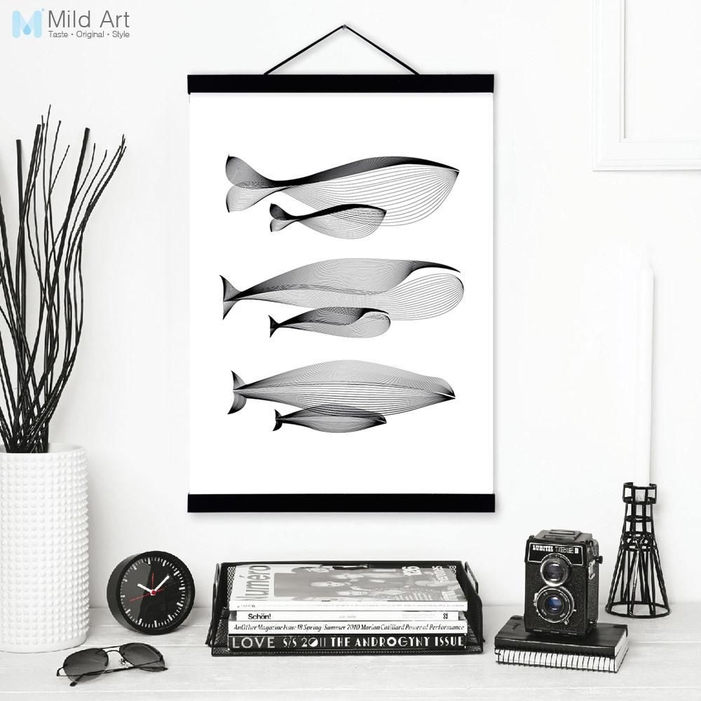 Black white modern abstract whale family wooden framed canvas