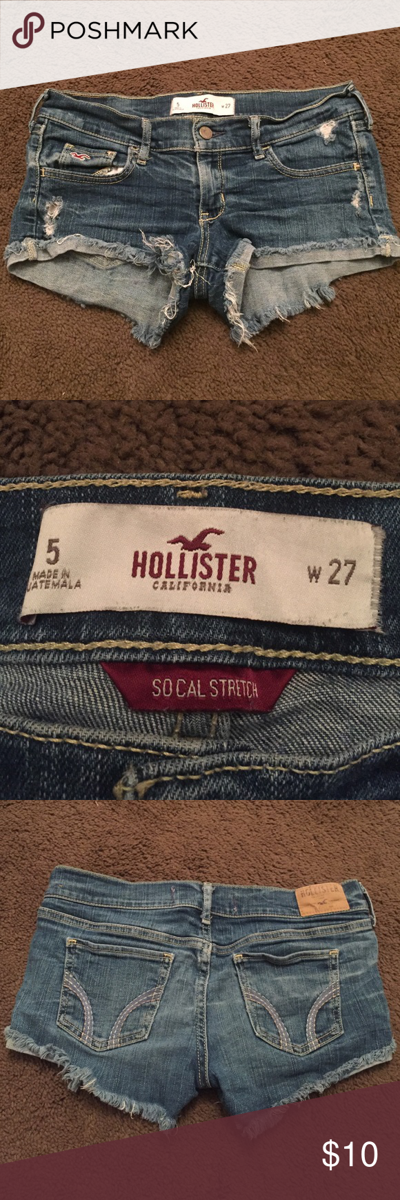 Stretch Jean cut off shorts Distressed cut off jean shorts from hollister size 5 W27. These are low rise shorts in a medium wash. They have a nice stretch to them and are very form fitting. Hollister Shorts Jean Shorts