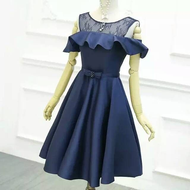 74e0df3219 Knee Length Off Shoulder Sleeves Navy Blue Homecoming Dresses ...