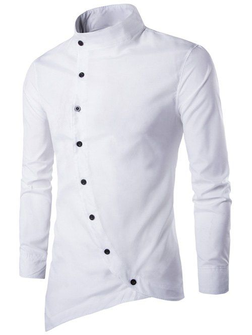 1aa51f3d8b Only US14.12, buy M button up stand collar asymmetric shirt White at ...