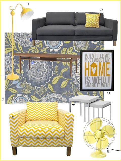 Yellow  gray room inspiration - I love the lamp (1) and chair (6