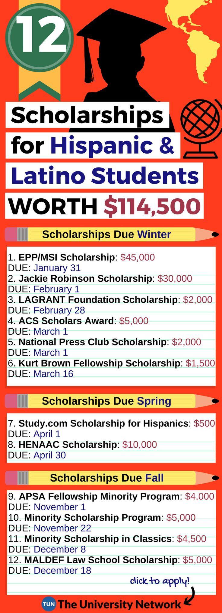 006 12 Scholarships for Hispanics and Latinos Totalling