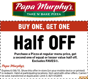50 Off A Second Pizza At Papa Murphys Free Printable Coupons Fresh Homemade Pizza Printable Coupons
