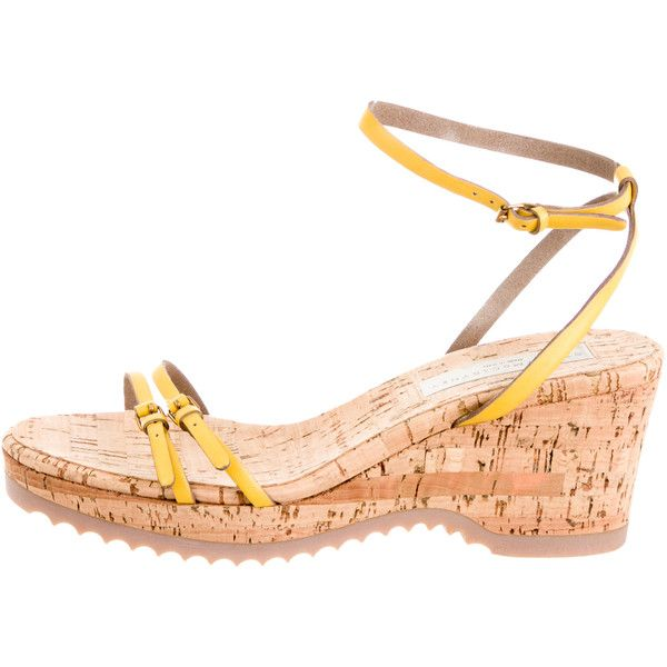 Pre-owned Stella McCartney Leather Wedge Sandals ($95) ❤ liked on Polyvore featuring shoes, sandals, yellow, leather wedge sandals, platform wedge sandals, leather ankle strap sandals, stella mccartney shoes and ankle strap sandals