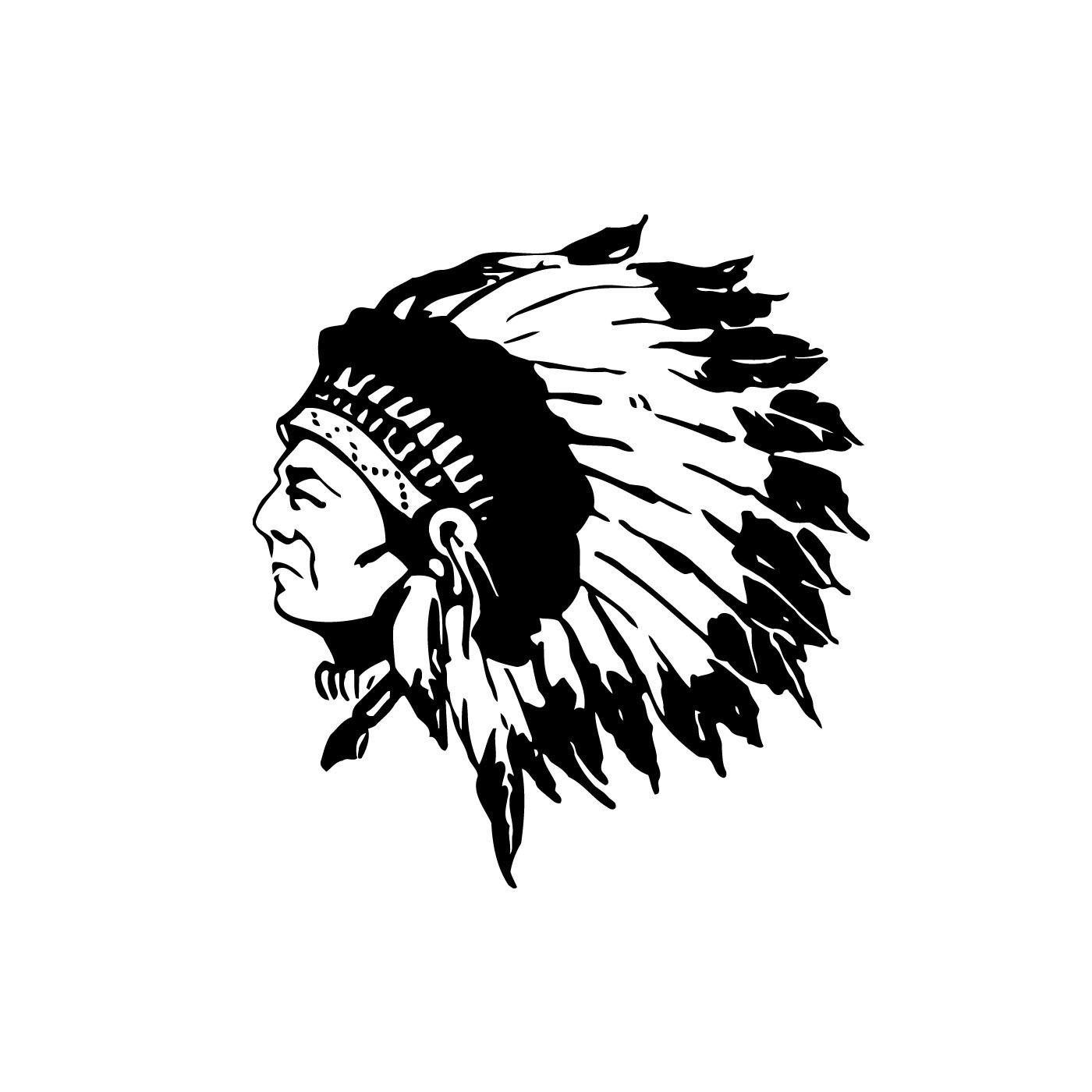 Native American Indian In Headdress Vinyl Wall Art