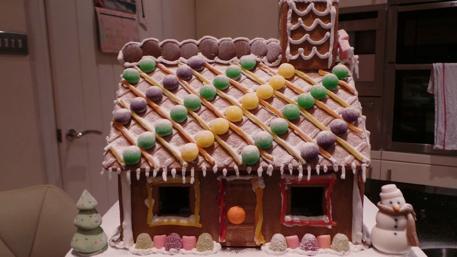 My first attempt at a gingerbread house, great Christmas Eve afternoon fun with my daughter.