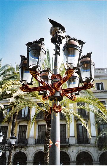 Lampposts designed by gaud in barcelonas plaza real antonio lampposts designed by gaud in barcelonas plaza real mozeypictures Images