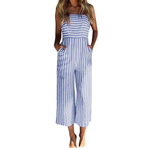MRULIC Damen Striped Printing Sleeveless Lange Playsuits ...