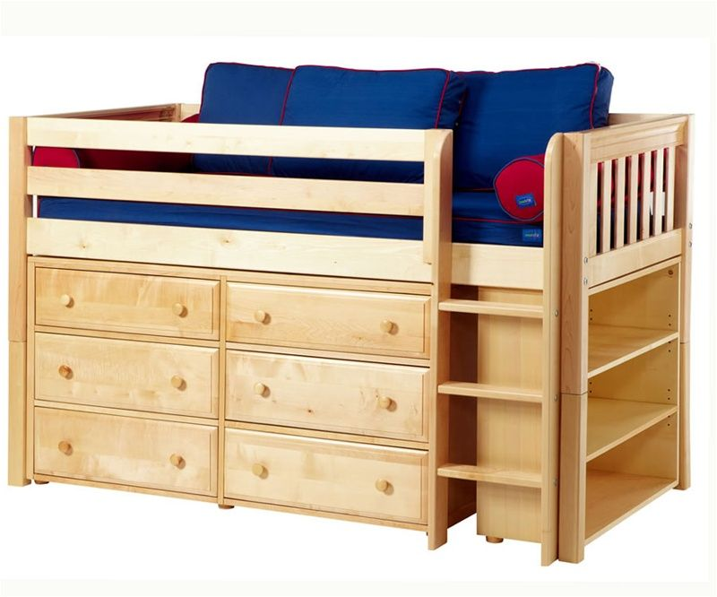 maxtrix low loft bed w dresser bookcase bed frames matrix furniture - Low Twin Bed Frame
