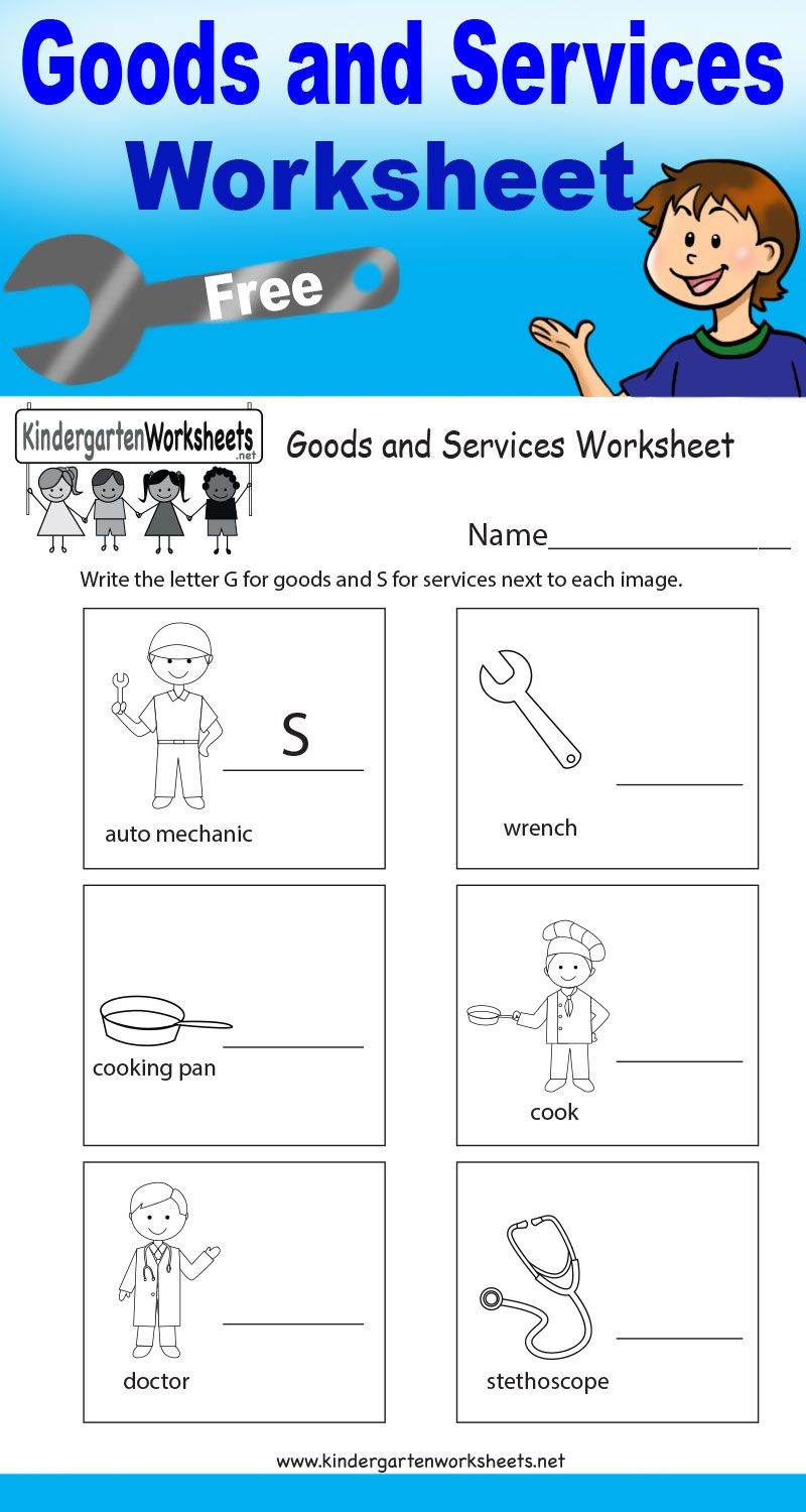 worksheet Goods And Services Worksheets this worksheet teaches kids the difference between goods and free kindergarten social studies worksheets learning various careers