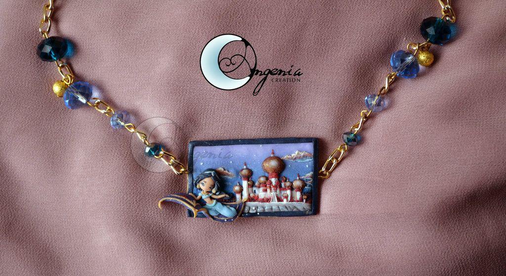 Disney Princess Jasmine Polymer Clay Necklace by ~AngeniaC on deviantART