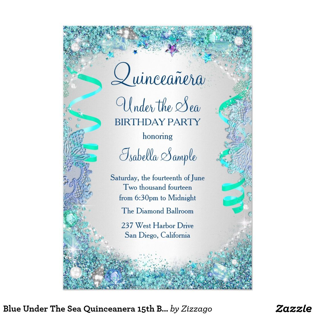 Blue Under The Sea Quinceanera 15th Birthday Party Invitation ...