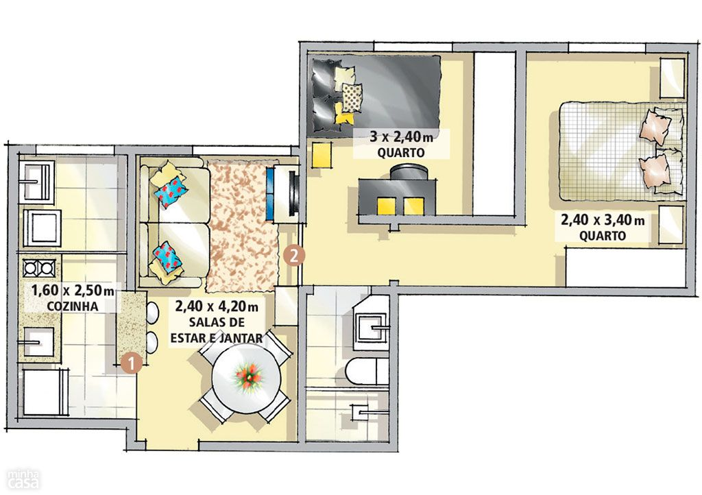 Conhecido Apartamento de apenas 37 m² tem dois confortáveis dormitórios  VX36