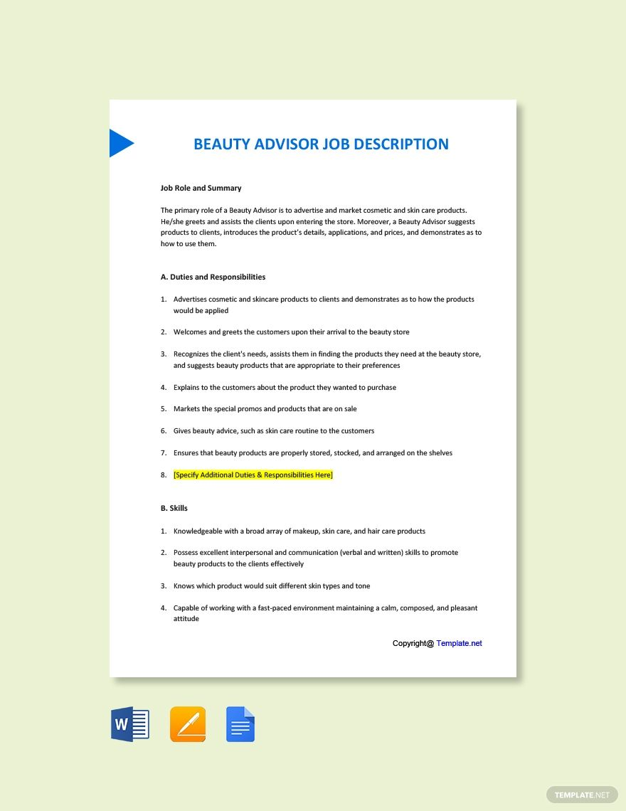 FREE Beauty Advisor Job Description Template Word (DOC