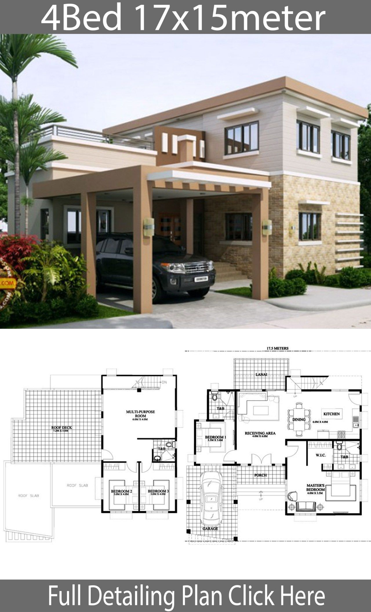 Home Design 17x15m With 4 Bedrooms Home Ideas Home Building Design House Design House Construction Plan