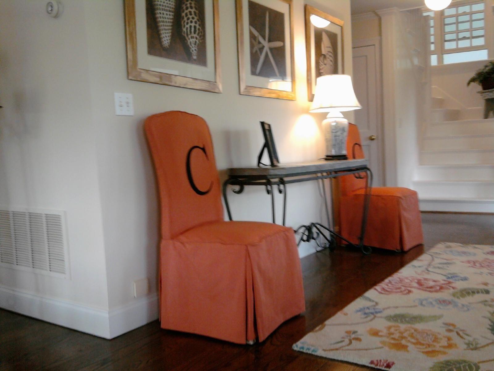 Orange Parson Chair Covers