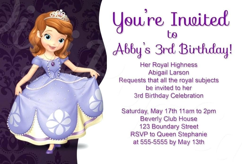 Easy Sofia The First Invitation Blank Template 67 On Download For Sofia The Firs Easy Sofia Birthday Invitation Princess Sofia Invitations Sofia Invitation