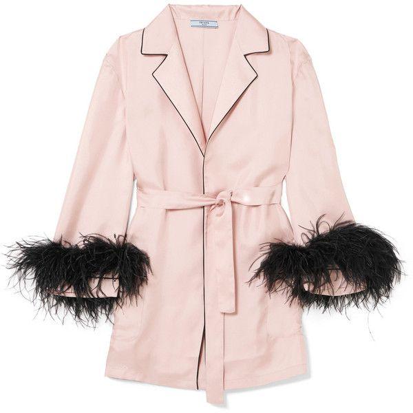 Prada Feather-embellished silk-twill robe (€1.355) ❤ liked on ...