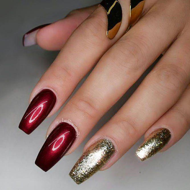 40+ Gorgeous Maroon Color Nails Designs - Fashionre | Nail designs ...