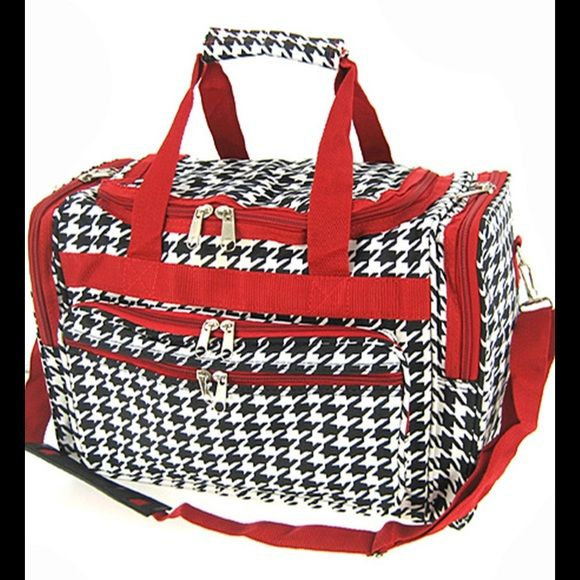 """19"""" New Red Houndstooth Duffle Bag Travel Luggage Brand New with Tags.  This duffel bag is great to use for the gym or for travel.  Prefect for dance class or cheer.  Very roomy and durable. Size: 19"""" wide x 12"""" tall x 10"""" deep  Material : Microfiber   * Zipper Closure  * Zipper Pocket on Front  * 2 Side Bag Zipper Compartments  * Shoulder Strap Plus Carry Handles with Snaps   Color : red trim Scarlettsbags Bags Travel Bags"""