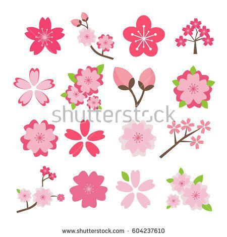 Cherry Blossom Icon Set Arte De Flor De Cerezo Tarjetas Timoteo A Mano Flor De Cerezo Dibujo