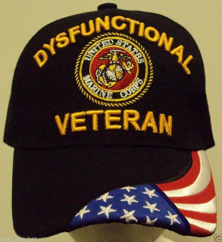 9a21a400cbd LICENSED U.S. MARINE CORPS USMC DYSFUNCTIONAL VETERAN VET INSIGNIA FLAG CAP  HAT  ad