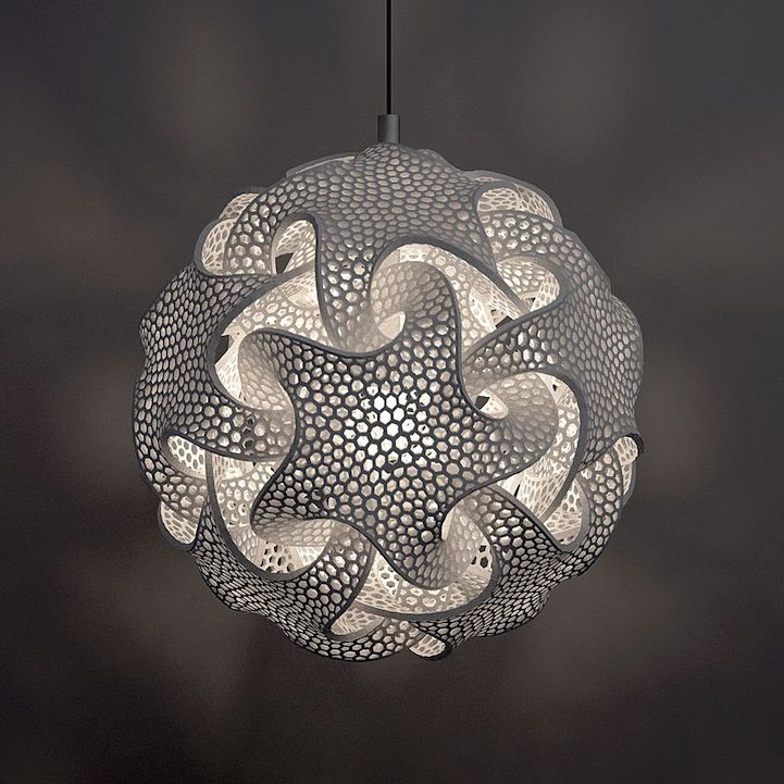 Complex Geometric Lamp Designs Produced With 3d Printing Eco Furniture Geometric Lamp 3d Printed Furniture