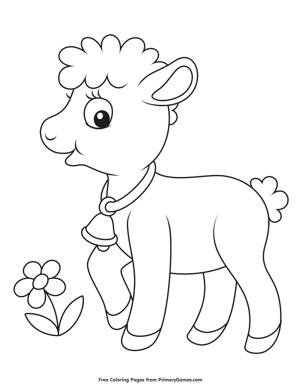Baby Lamb Coloring Page • FREE Printable eBook (With ...