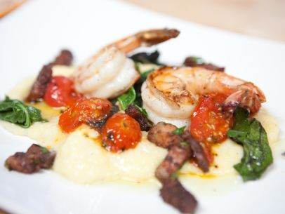 """Deconstructed Roasted Tomato Grits and Shrimp, with Sauteed Baby Mustard Greens and Bacon """"Confit"""""""