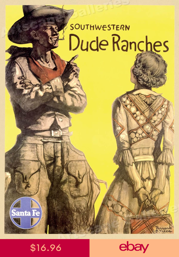 1940s Santa Fe Railroad Dude Ranches Vintage Style Travel Poster 24x32