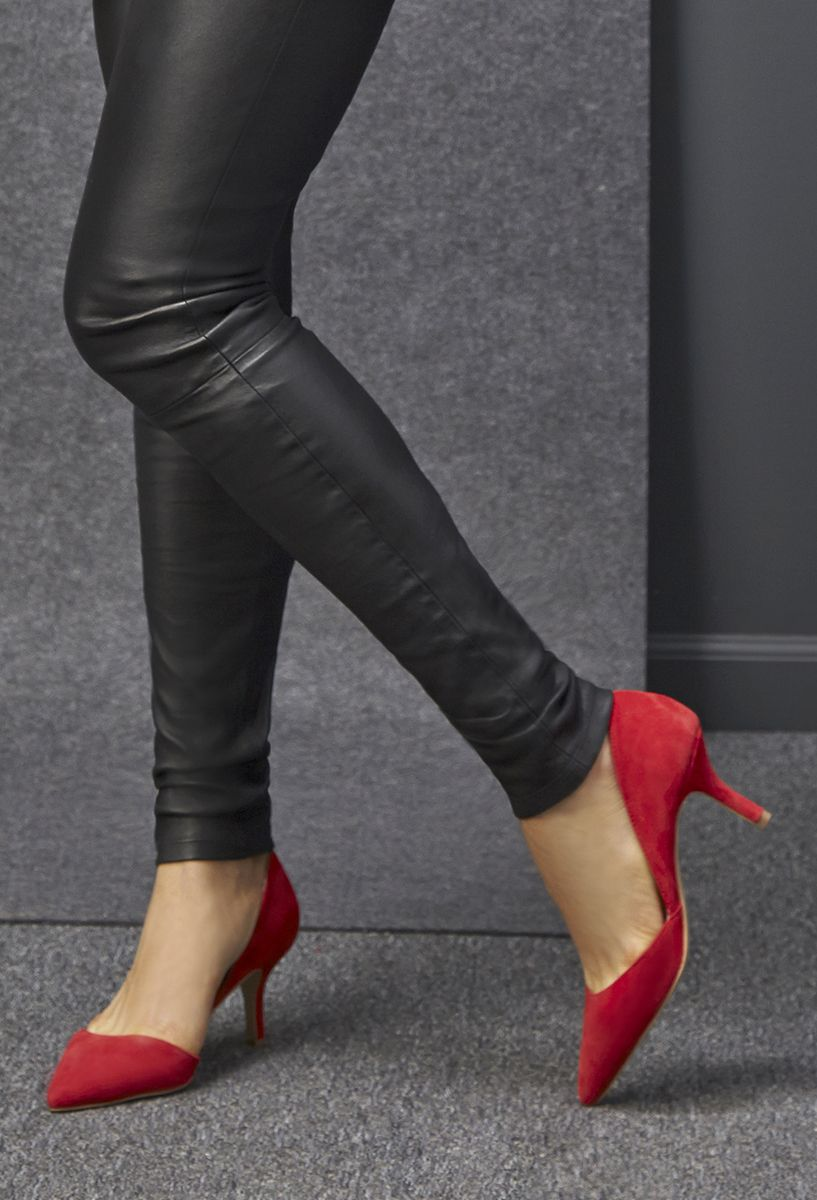 reputable site 836d3 243e6 Red suede d'Orsay mid heel pumps   Sole Society Jenn   Shoes ...