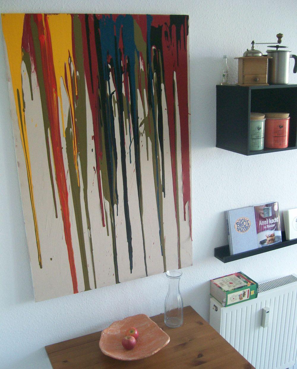 Wanddekoration wohnzimmer selber machen  Wanddekoration selbermachen - kreatives Wandbild selbst gestalten ...