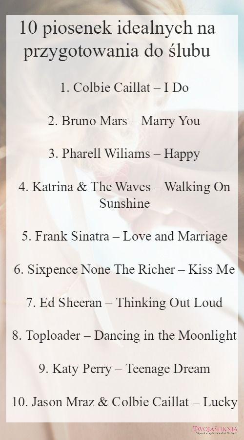 Piosenki Przygotowania ślub Wesele Utwory Muzyka Wesele Panna Młoda