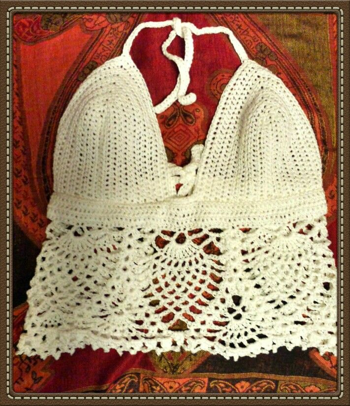 Crochet Halter with pineapple stitch. Pattern by and adapted from ...