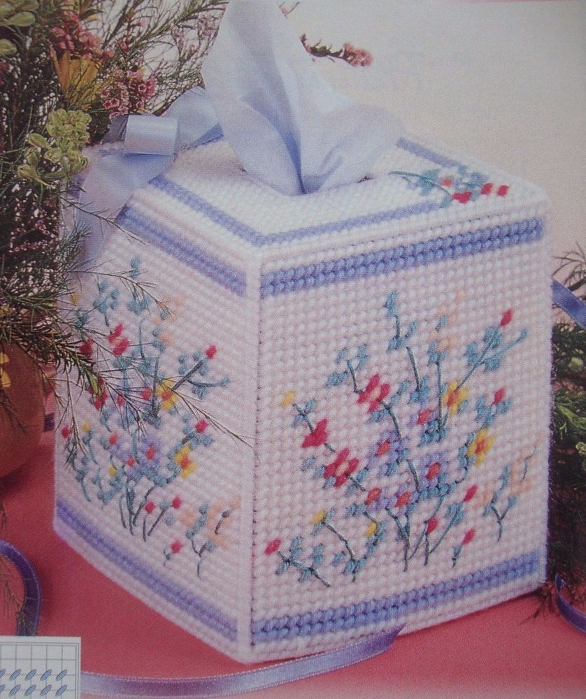 Spring Bouquet Tissue Box Cover Plastic Canvas Pattern