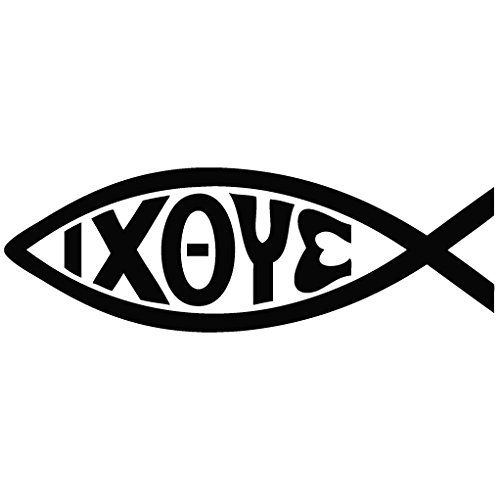 Jesus Christ God Son Savior Fish Symbol Message Decal Vinyl Car