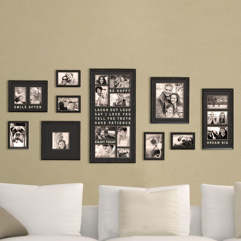 Gimenez 10 Piece Luxury Typography Picture Frame Set In 2020 Frame Wall Decor Photo Frame Wall Frames On Wall