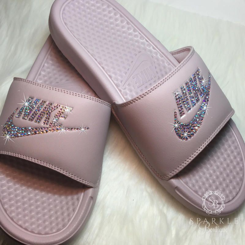 Nike Slides - Swarovski Nike - Rose Bling Nike - Bedazzled Nike - Nike  Benassi JDI Slides - All Sizes - Rose Color - Sparkly Nike Slides by ... 07b4221bc0