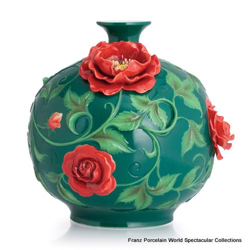 FZ02815 Franz Porcelain Chinese Rose Large Vase Green Red Special Order  Amazing