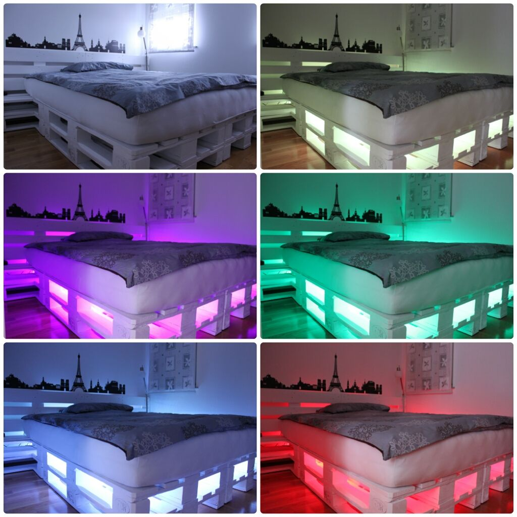 night lightly led light my pallet bed with led pinterest pallets. Black Bedroom Furniture Sets. Home Design Ideas