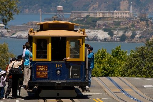 The wonderful tram network in San Francisco. With the world's most famous prison in the background.