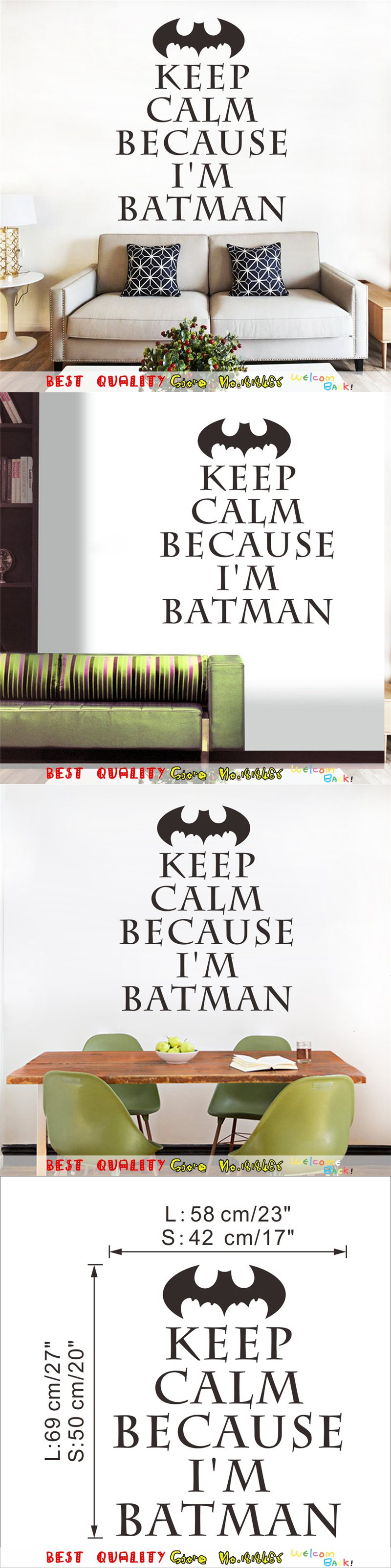 Keep Calm I Am Batman Wall Stickers Kids Bedroom Decoration, Vinyl Home Decal Movie Poster Mual Art Sticker Adesivo De Paredes