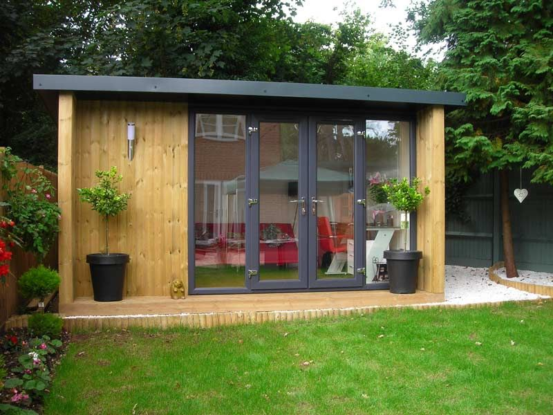 Garden Office With Graphite French Door Combi And Spruce Side Cheeks, From  (inc.