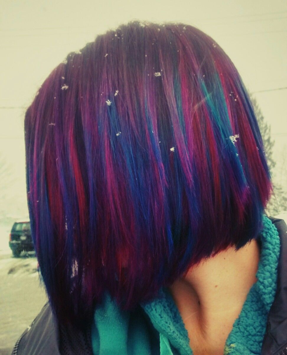 blue purple pink and red galaxy hair, short hair, bob | hairstyles