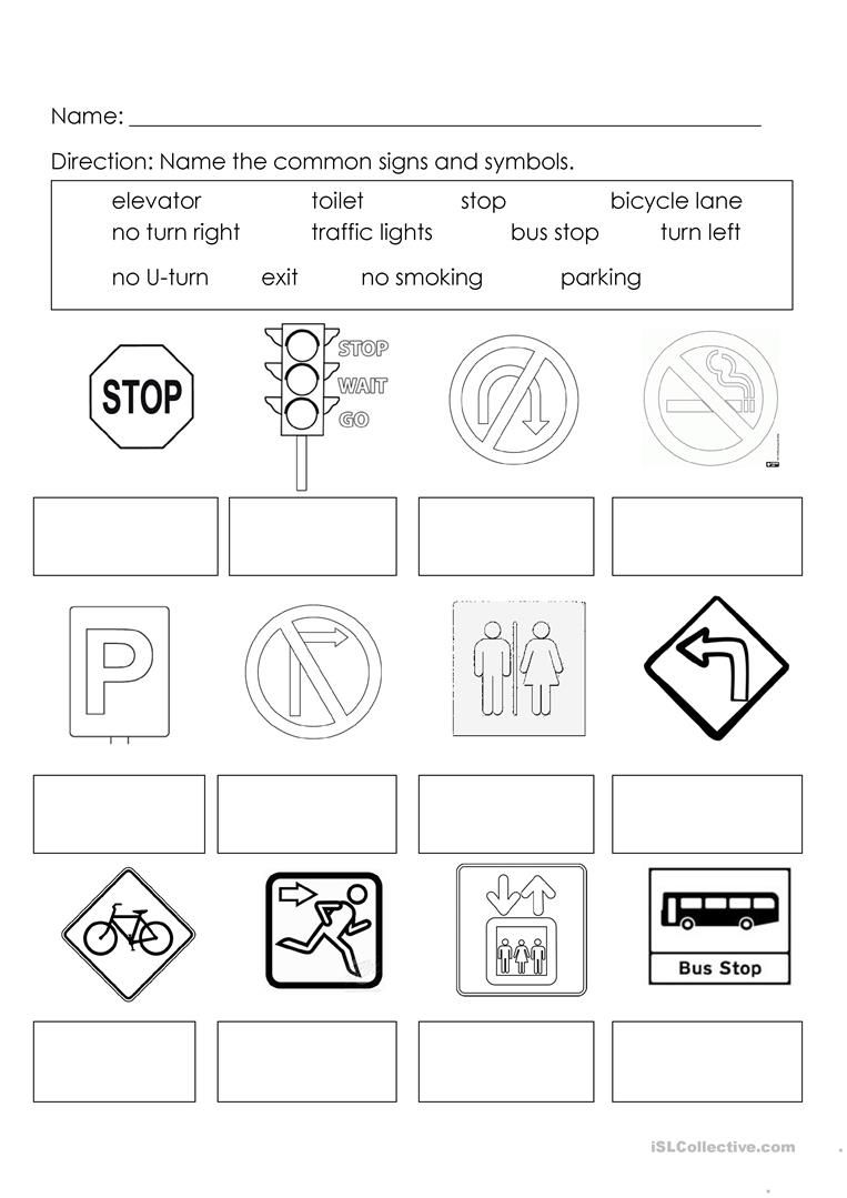 Signs and Symbols Map symbols, Worksheets for kids, Word