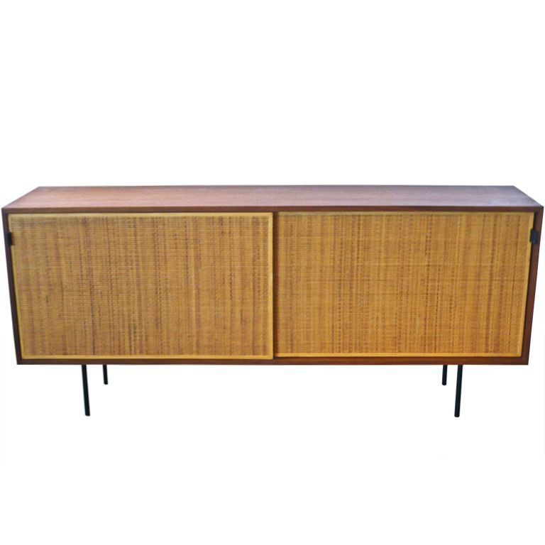 Florence Knoll Beautifully Restored Walnut And Raffia Buffet / Credenza  Consisting Of 2 Sliding Caned Doors